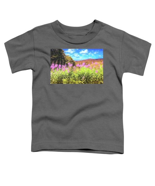 Art Photo Of Vermont Rolling Hills With Pink Flowers In The Foreground Toddler T-Shirt