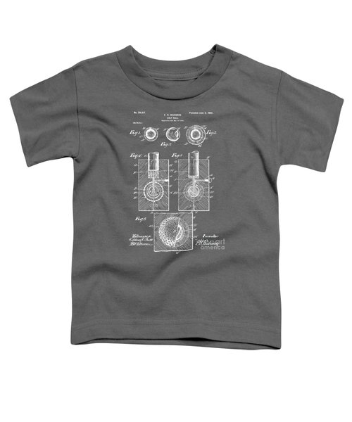 1902 Golf Ball Patent Artwork - Gray Toddler T-Shirt by Nikki Marie Smith