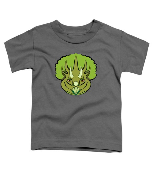 Triceratops Graphic Green Toddler T-Shirt