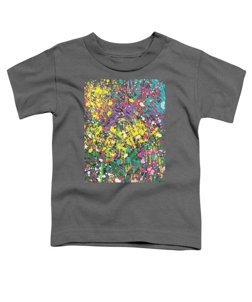 Toddler T-Shirt featuring the painting Flower Bed Abstract by Go Van Kampen