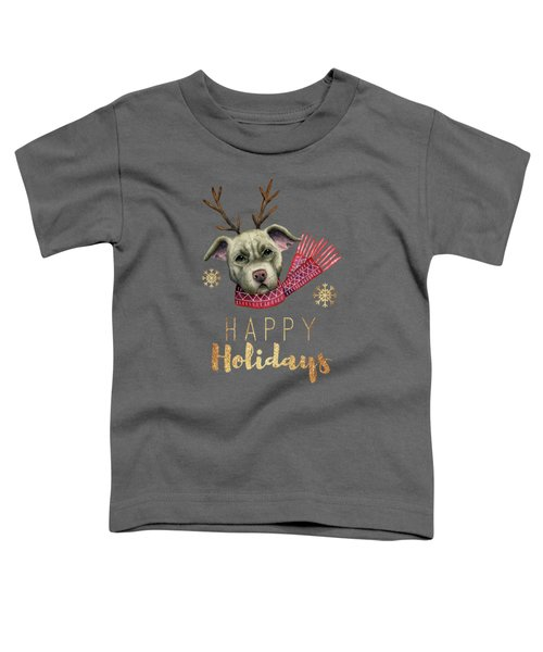 Christmas Reindeer Pit Bull With Faux Gold Fonts Toddler T-Shirt