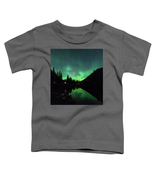 Aurora On Moraine Lake Toddler T-Shirt by Alex Lapidus
