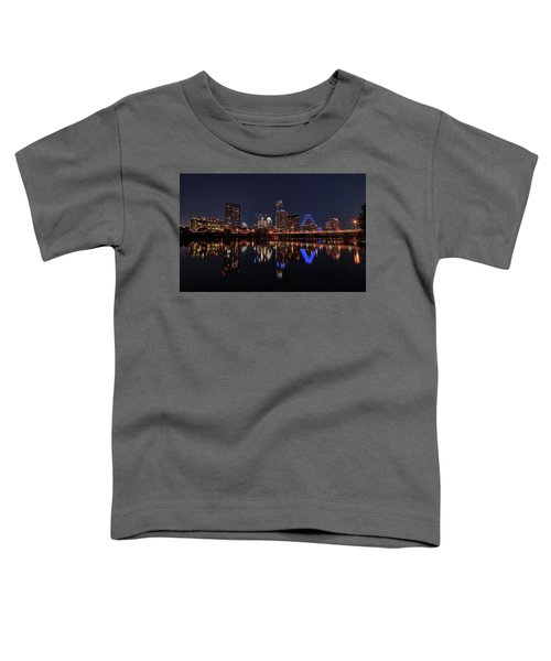 Austin Skyline At Night Toddler T-Shirt by Todd Aaron