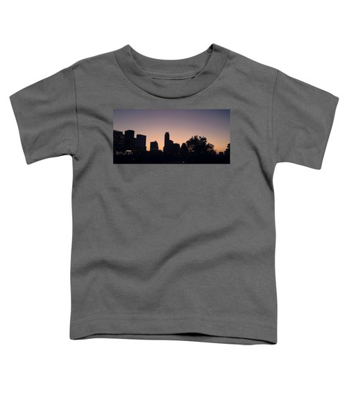 Austin Skyline Sunrise Into A Crescent Moon Panorma Toddler T-Shirt