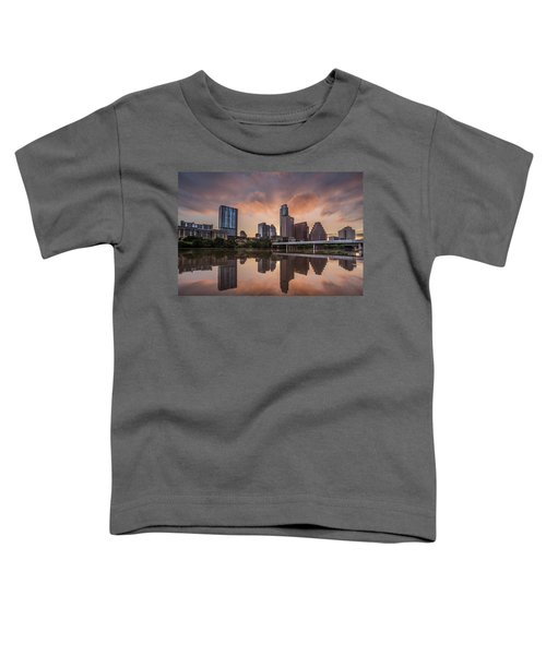 Austin Skyline Sunrise Reflection Toddler T-Shirt by Todd Aaron