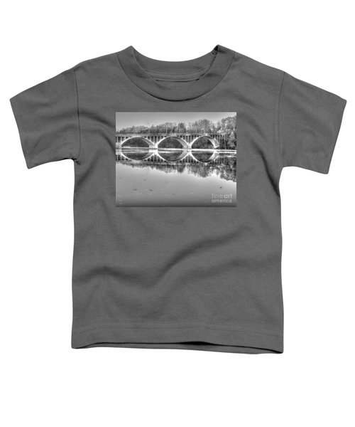 Autumn Bridge Reflections In Black And White Toddler T-Shirt