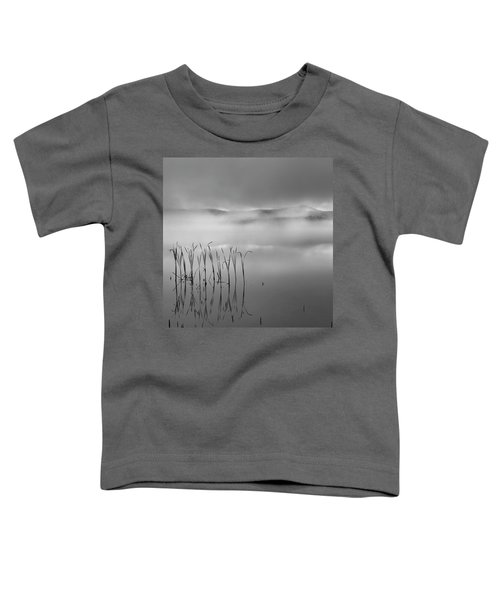 Toddler T-Shirt featuring the photograph Autumn Fog Black And White Square by Bill Wakeley