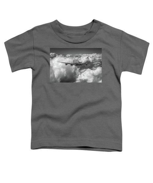 Toddler T-Shirt featuring the photograph Avro Lancaster Above Clouds Bw Version by Gary Eason