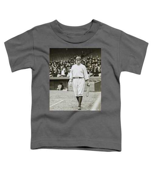 Babe Ruth Going To Bat Toddler T-Shirt by Jon Neidert