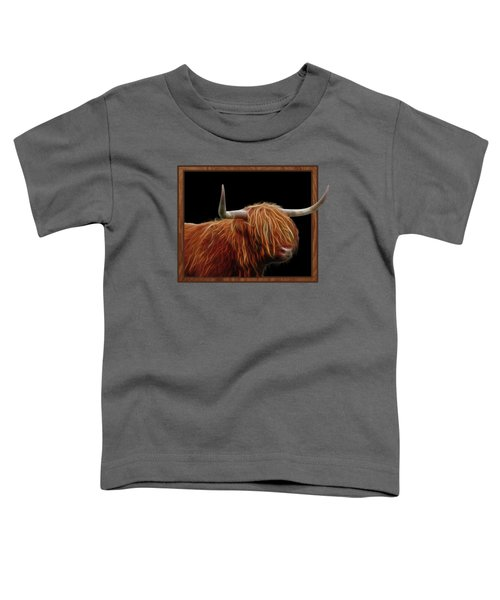 Bad Hair Day - Highland Cow - On Black Toddler T-Shirt by Gill Billington