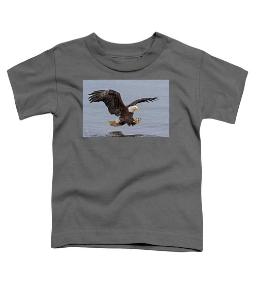 Bald Eagle Diving For Fish In Falling Snow Toddler T-Shirt
