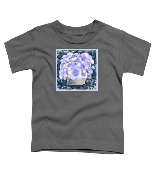 Basket With Blue Flowers  Toddler T-Shirt