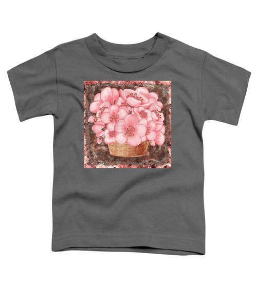 Basket With Pink Flowers Toddler T-Shirt