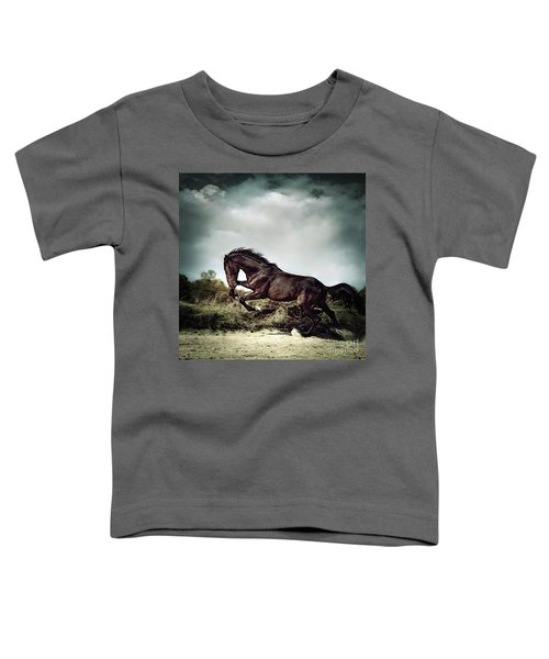 Beautiful Black Stallion Horse Running On The Stormy Sky Toddler T-Shirt