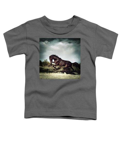 Beautiful Black Stallion Horse Running On The Stormy Sky Toddler T-Shirt
