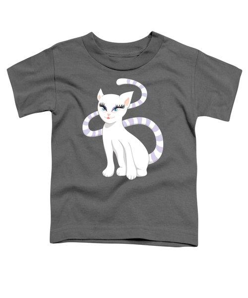 Beautiful Cartoon Cute White Cat Toddler T-Shirt