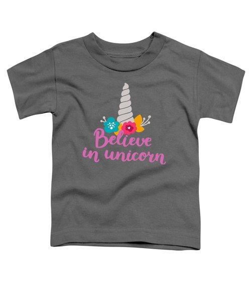 Believe In Unicorn Toddler T-Shirt by Edward Fielding