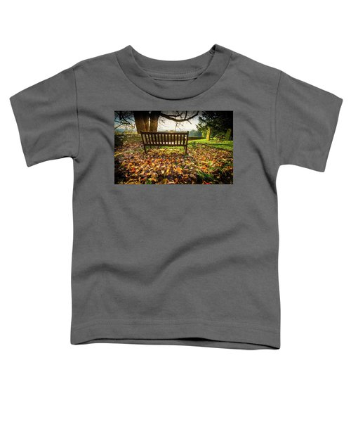 Bench With Autumn Leaves Toddler T-Shirt