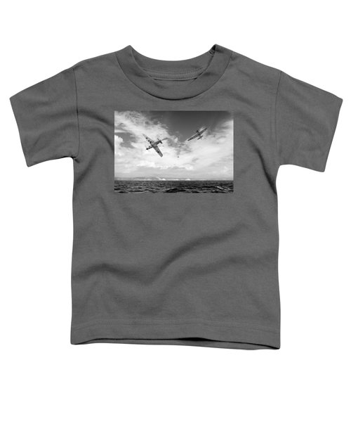 Toddler T-Shirt featuring the photograph Bf109 Down In The Channel Bw Version by Gary Eason