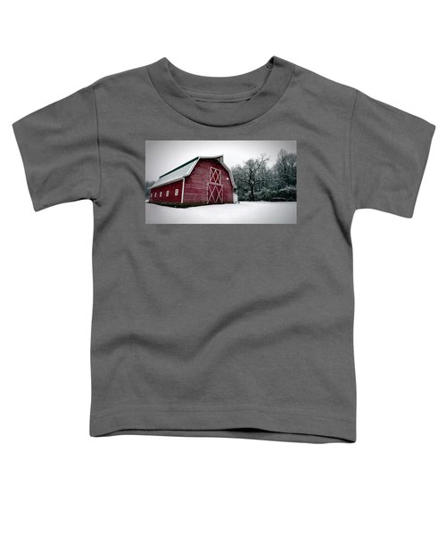 Big Red Barn In Snow Toddler T-Shirt