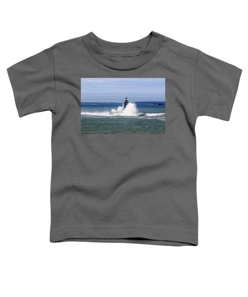 Big Wave Hits Ram Island Ledge Light Toddler T-Shirt