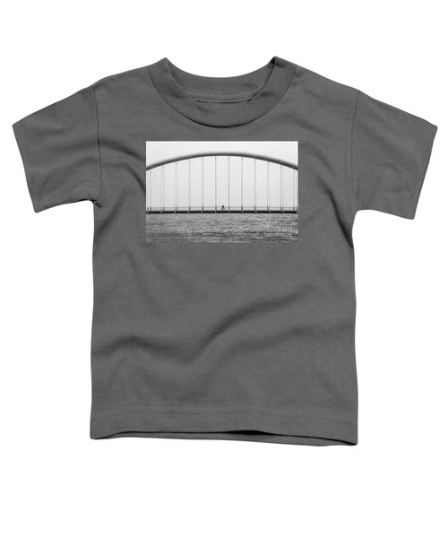 Toddler T-Shirt featuring the photograph Black And White Bridge by MGL Meiklejohn Graphics Licensing