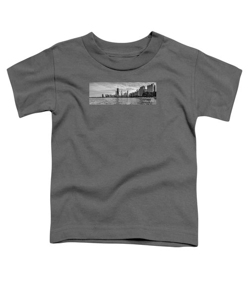 Black And White Panorama Of Chicago From North Avenue Beach Lincoln Park - Chicago Illinois Toddler T-Shirt