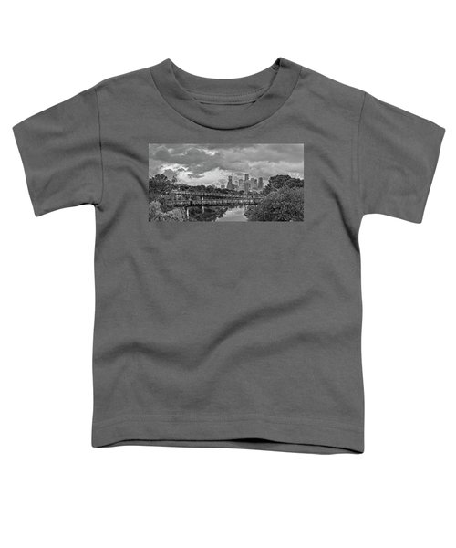 Black And White Panorama Of Downtown Houston And Buffalo Bayou From The Studemont Bridge - Texas Toddler T-Shirt