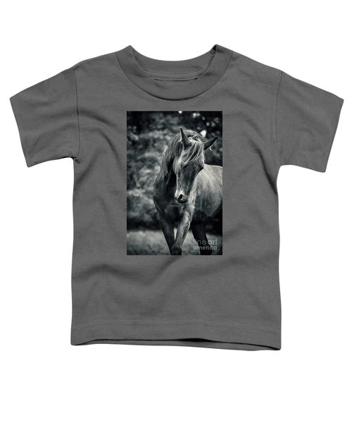 Black And White Portrait Of Horse Toddler T-Shirt