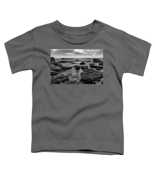 Black And White Sunset At Low Tide Toddler T-Shirt