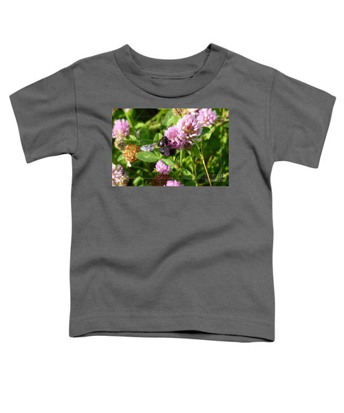 Black Bee On Small Purple Flower Toddler T-Shirt