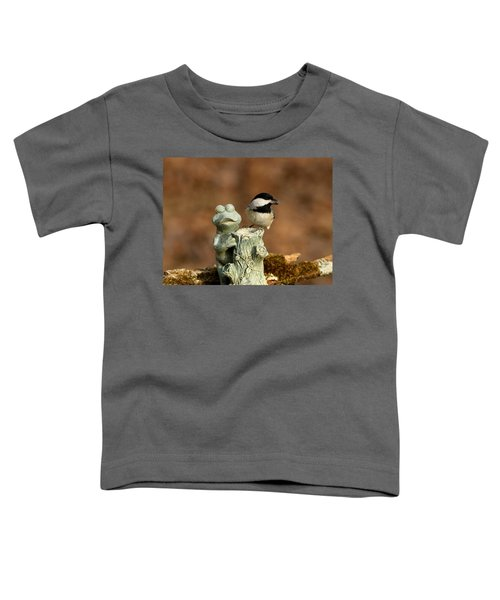 Black-capped Chickadee And Frog Toddler T-Shirt