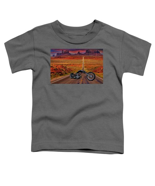 Black Chopper At Monument Valley Toddler T-Shirt