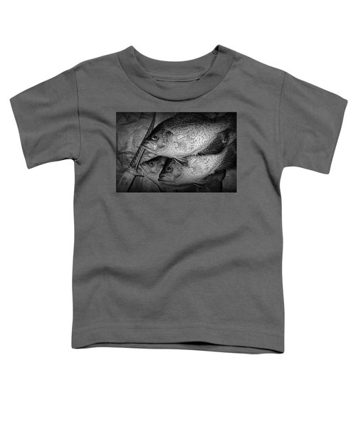 Black Crappie Panfish With Fish Filet Knife In Black And White Toddler T-Shirt