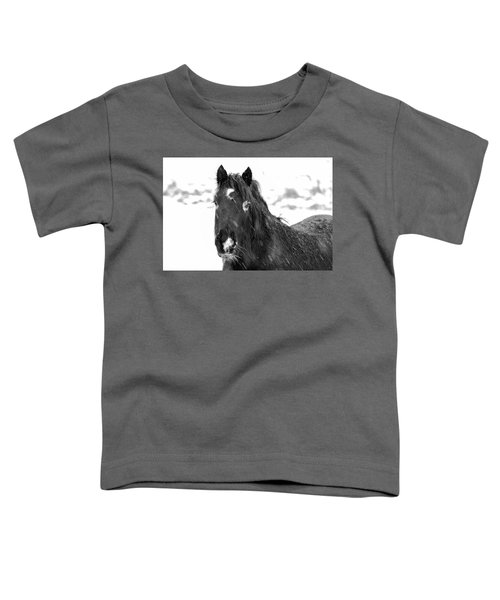 Black Horse Staring In The Snow Black And White Toddler T-Shirt