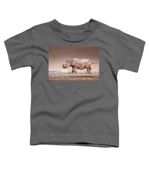 Black Rhinoceros Baby Running Toddler T-Shirt