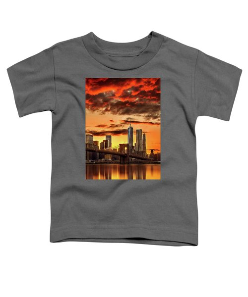 Blazing Manhattan Skyline Toddler T-Shirt by Az Jackson