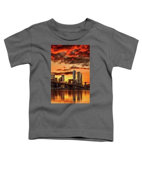 Blazing Manhattan Skyline Toddler T-Shirt