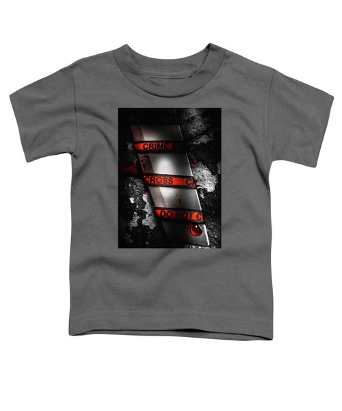Bloody Knife Wrapped In Red Crime Scene Ribbon Toddler T-Shirt