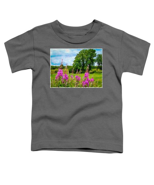 Toddler T-Shirt featuring the digital art Blooming Fireweeds In Summer by James Truett