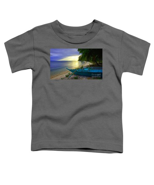 Blue Boat And Sunset On Beach Toddler T-Shirt