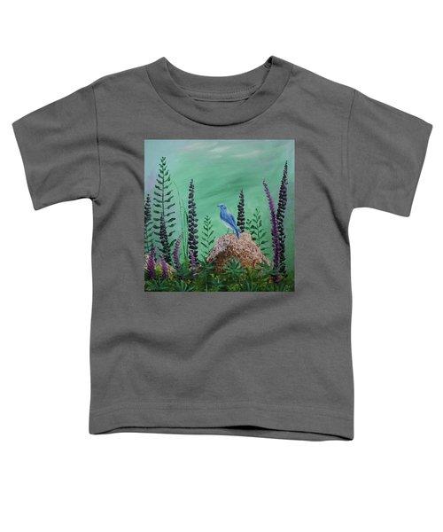 Blue Chickadee Standing On A Rock 2 Toddler T-Shirt