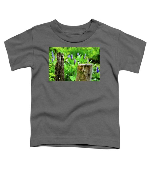 Blue Flowers And Artistic Logs Toddler T-Shirt