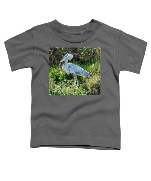 Blue Heron With Fish Toddler T-Shirt