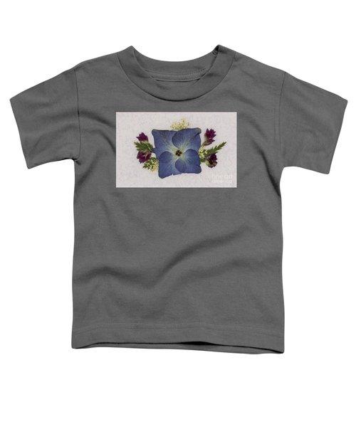 Blue Hydrangea Pressed Floral Design Toddler T-Shirt