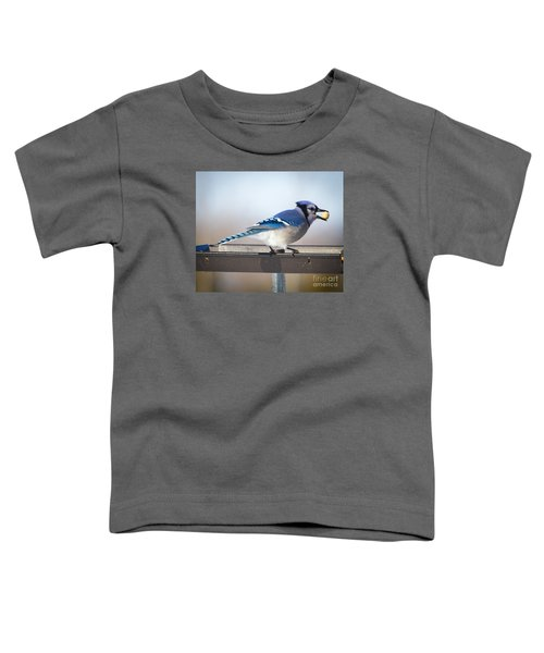 Blue Jay With A Mouth Full Toddler T-Shirt by Ricky L Jones