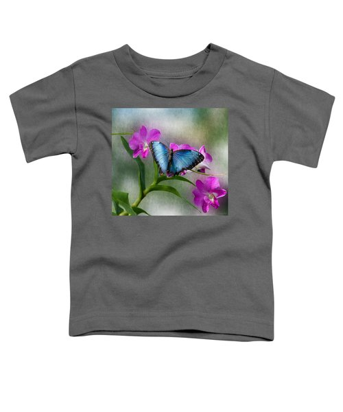 Blue Morpho With Orchids Toddler T-Shirt