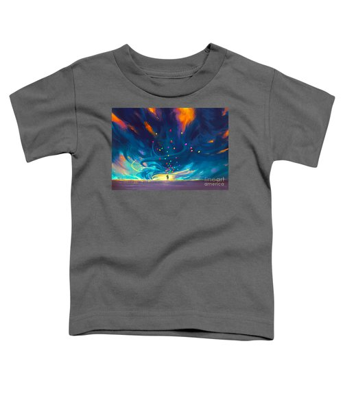 Toddler T-Shirt featuring the painting Blue Tornado by Tithi Luadthong