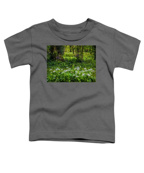 Toddler T-Shirt featuring the photograph Bluebells And Wild Garlic At Coole Park by James Truett