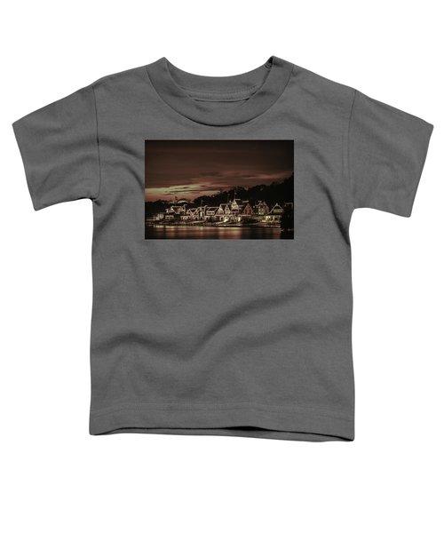 Boathouse Row Philadelphia Pa Night Retro Toddler T-Shirt